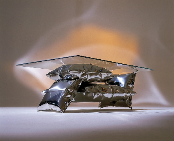 Coffee Table Blown Steel Pillow Base by Stephen Newby