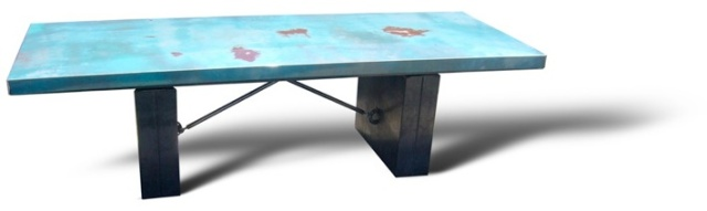 Reclaimed recycled steel Conference table by Weld House