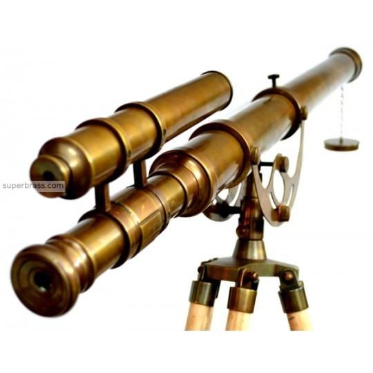 antiquated-brass-39-double-telescope-brass-harbormaster-on-5-tripod